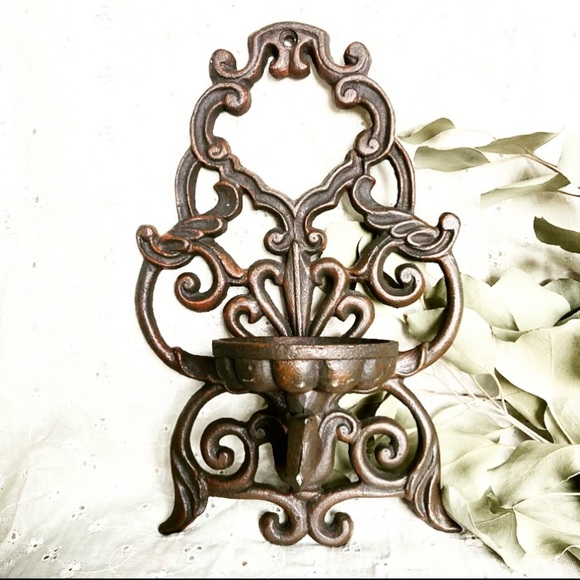 Vtg Cast Iron Wall Candle Holder
